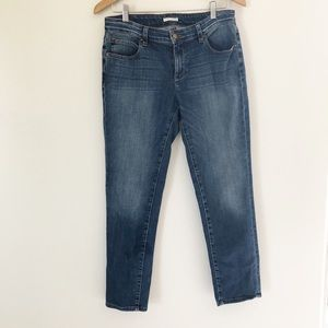 Eileen Fisher faded blue cropped skinny jeans sz 6